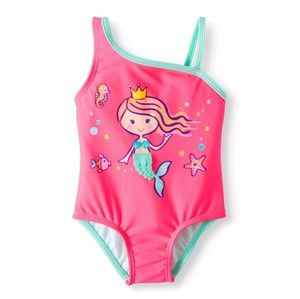 Baby girls pink swimsuit with mermaid